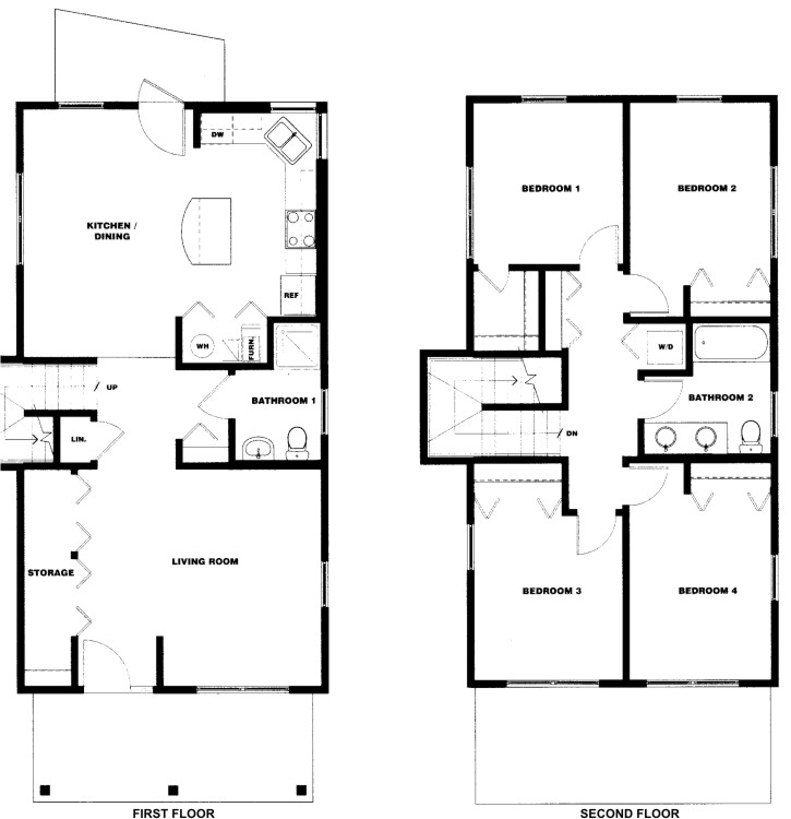 Four bedroom two bath douglass square for 4 bedroom and 2 baths